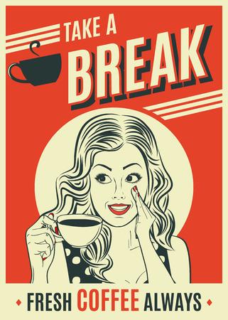 advertising coffee retro poster with pop art woman. Vector eps10 Foto de archivo - 112828890