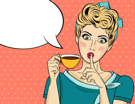 Sexy blonde pop art woman with coffee cup. Advertising poster in comic style. Vector Stock Illustratie