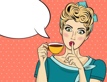Sexy blondynka pop-artu kobieta z filiżanką kawy. Plakat reklamowy w komiksowym stylu. Wektor