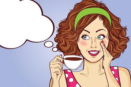 Mujer sexy pop art con taza de café. Cartel publicitario en estilo comic. Vector