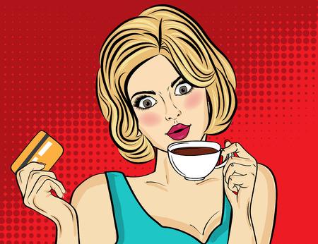 Mujer rubia sexy del arte pop con taza de café. Cartel publicitario en estilo comic. Vector
