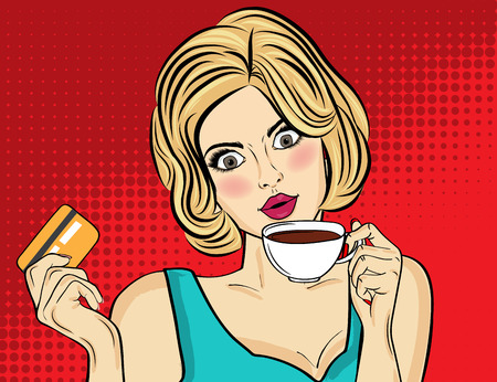 Sexy blonde pop art woman with coffee cup. Advertising poster in comic style. Vector Vectores