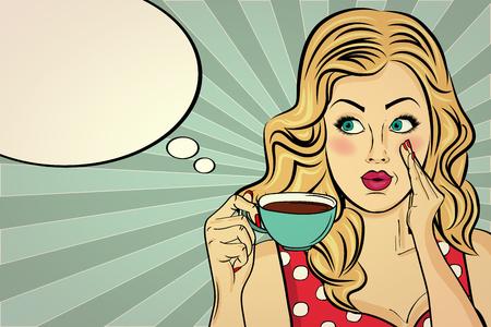 Donna bionda sexy pop art con tazza di caffè. Manifesto pubblicitario in stile fumetto. Vettore Vettoriali