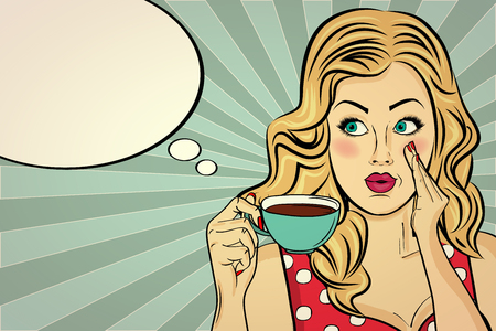 Sexy blonde pop art woman with coffee cup. Advertising poster in comic style. Vector Иллюстрация