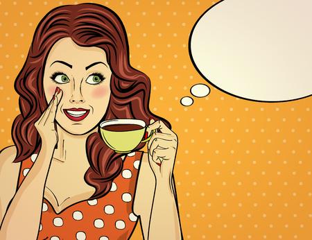 Kobieta sexy pop-artu z filiżanką kawy. Plakat reklamowy w komiksowym stylu. Wektor