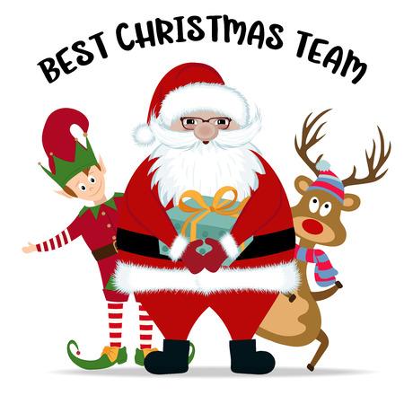 Beste kerstteam, Kerstman, rendier en elf Vector Illustratie
