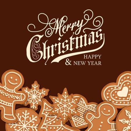Belle carte de Noël avec pain d'épice. Affiche de Noël. Imprimer. Vecteur