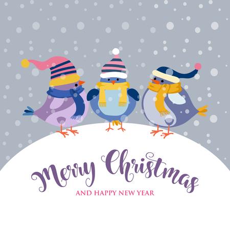 funnyl Christmas card with birds . Christmas poster. Vector 일러스트