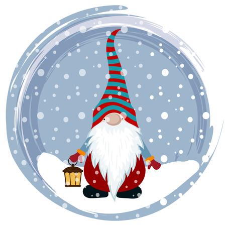 Christmas card with gnome. Scandinavian Christmas. Flat design