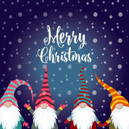 Christmas card with gnomes. Flat design. Scandinavian Christmas Standard-Bild - 127293574