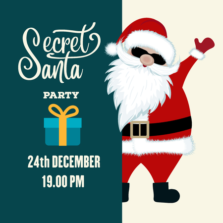Secret Santa party invitation. Flat design.