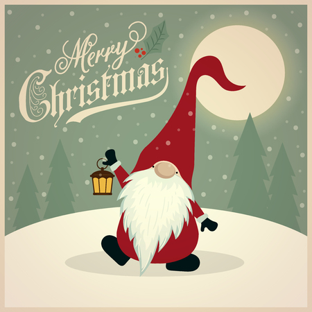 Beautiful retro Christmas card with gnome. Flat design. Vector