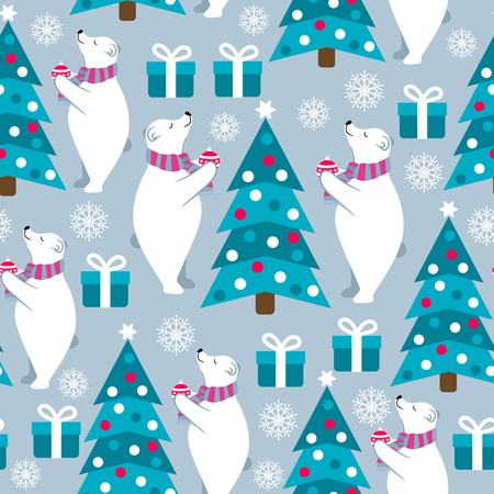 Christmas seamless pattern with polar bears and Christmas trees. Suitable for Christmas posters, wrapping and print. Vector