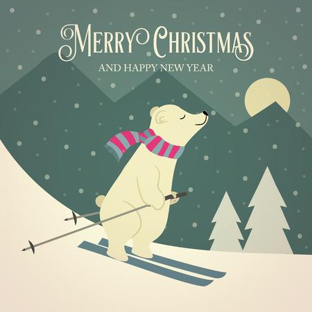 Beautiful retro Christmas card with polar bear skier. Flat design. Vector