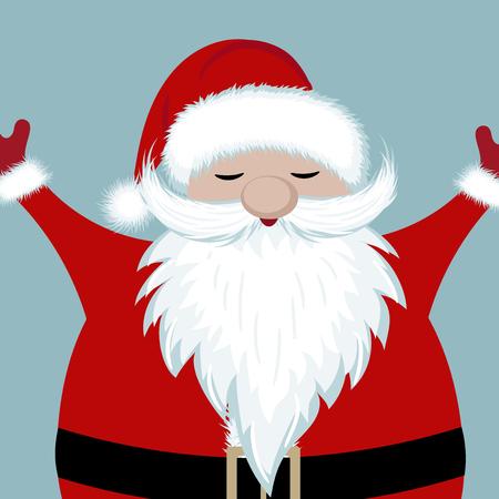Happy santa portrait. Flat design. Illustration
