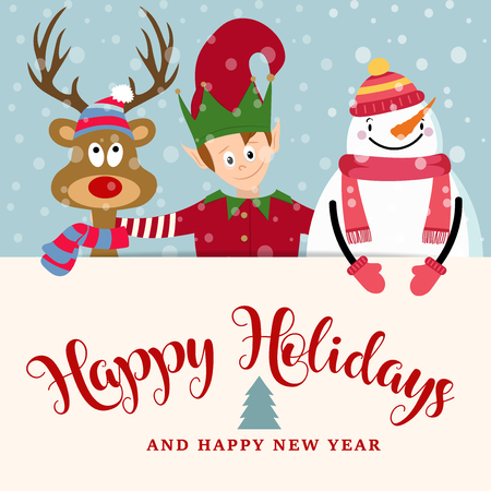Christmas card with elf, snowman and reindeer. Flat design, Wishes Illustration