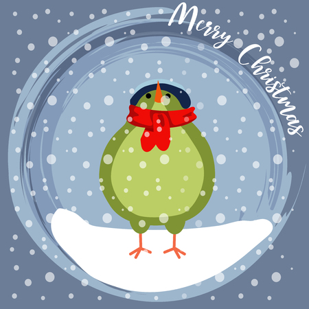 Christmas card with little dressed bird. Flat design. Vector 스톡 콘텐츠 - 127293602