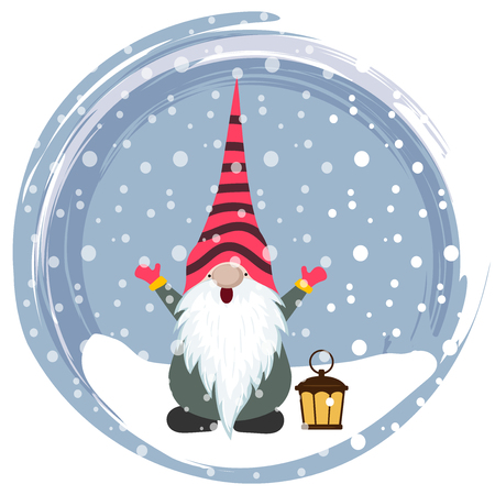 Christmas card with gnome. Scandinavian Christmas. Flat design