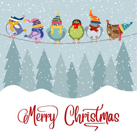 Cartolina di Natale con uccelli. Sfondo di Natale. Design piatto. Vettore
