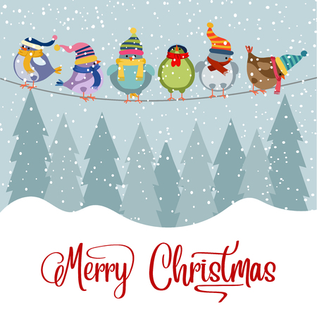 Christmas card with birds. Christmas background. Flat design. Vector
