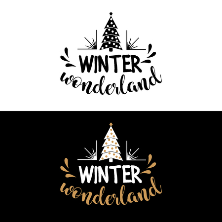 Winter wonderland. Christmas quote. Black typography for Christmas cards design, poster, print Illustration