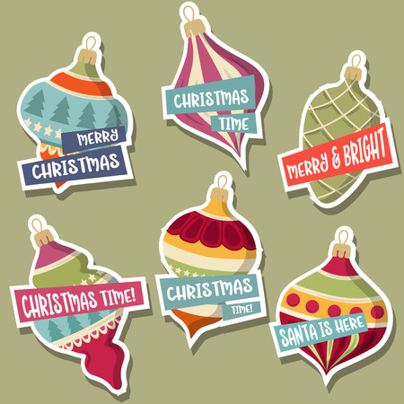 Christmas stickers collection with Christmas balls and wishes. Flat design. Vector