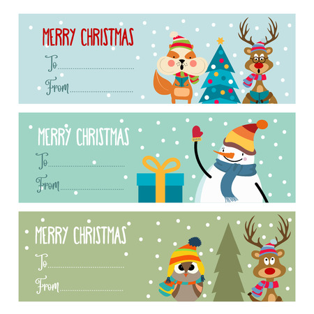 Cute flat design Christmas labels collection for presents. Vector Illustration