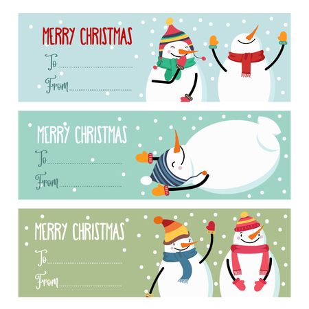 Cute flat design Christmas labels collection with snowman isolated on white background for presents. Vector