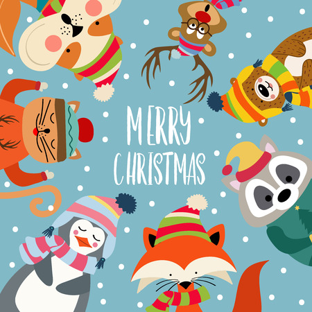 Christmas card with cute dressed animals and wishes. Flat design. Vector 스톡 콘텐츠 - 112829029