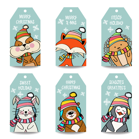 Christmas labels collection with animals, isolated items on white background, eps10