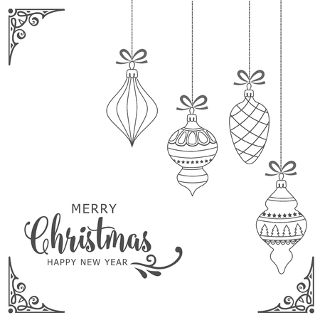 Minimal white christmas background with baubles. Vector