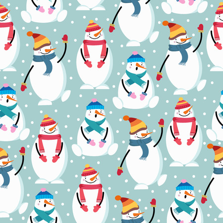Cute flat design Christmas seamless pattern with snowman. Christmas background. Christmas wrapping paper. Vector