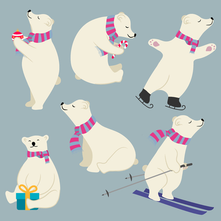 Cute flat design polare bears collection isolated. Vector