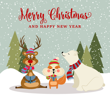 Gorgeousl flat design Christmas card with reindeer, squirrel and polar bear . Christmas poster. Vector Иллюстрация