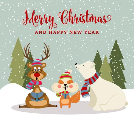 Preciosa tarjeta de Navidad de diseño plano con renos, ardillas y osos polares. Cartel de navidad. Vector