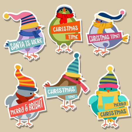 Christmas stickers collection with birds. Flat design 스톡 콘텐츠 - 127293629