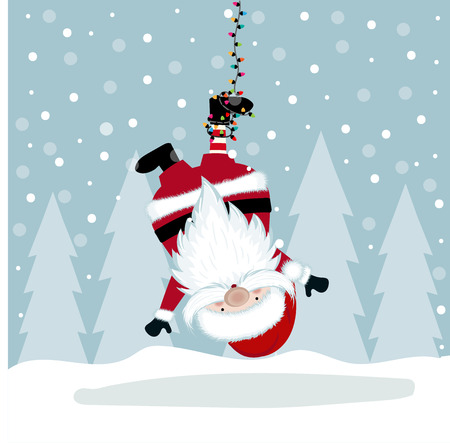 Funny Christmas illustration with hanging Santa. Flat design. Vector