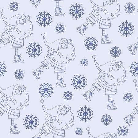 Christmas seamless pattern with Santa for Christmas background  wrapping paper, print. Vector