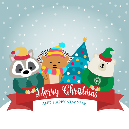 Christmas card with cute dressed animals and wishes. Flat design. Vector Illustration