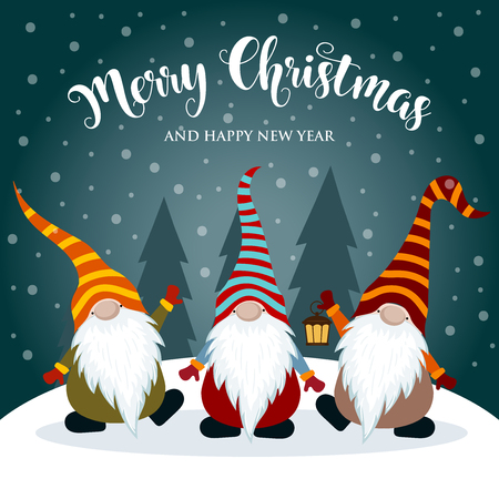 Cartolina di Natale con gnomi. Design piatto. Vettore