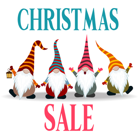 Christmas sale poster with gnomes. Flat design. Vector Illustration