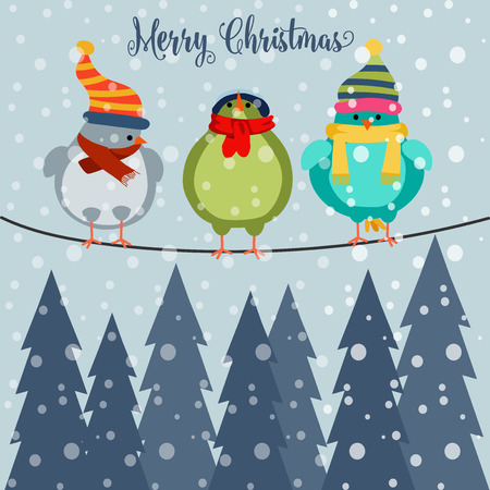 Christmas card with birds on wire. Christmas background. Flat design. Vector