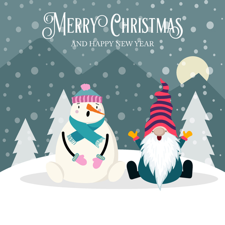Beautiful  Christmas card with gnome and snowman. Flat design. Vector