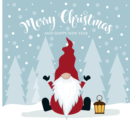 Christmas card with cute gnome. Flat design. Scandinavian Christmas Vectores
