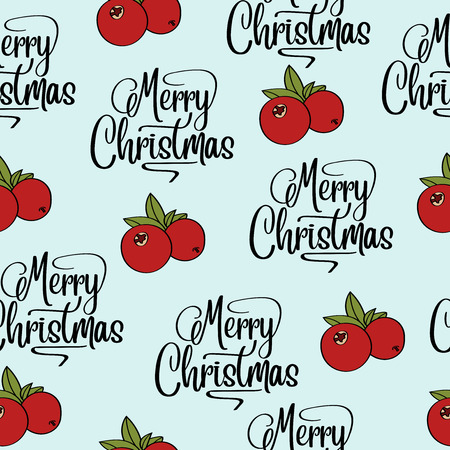 Christmas seamless pattern with cranberries for Christmas background  wrapping paper, print. Vector