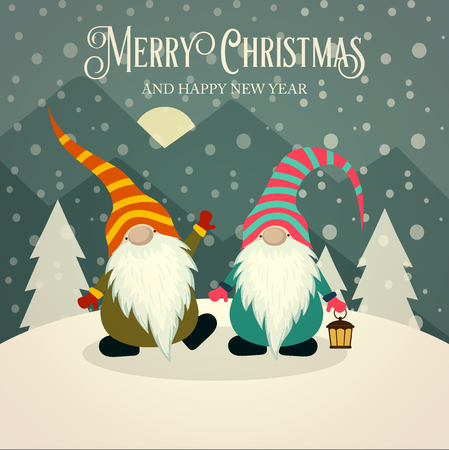 Beautiful retro Christmas card with gnomes. Flat design. Vector