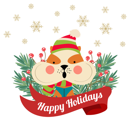 Christmas poster with tree branches and squirrel. Christmas card