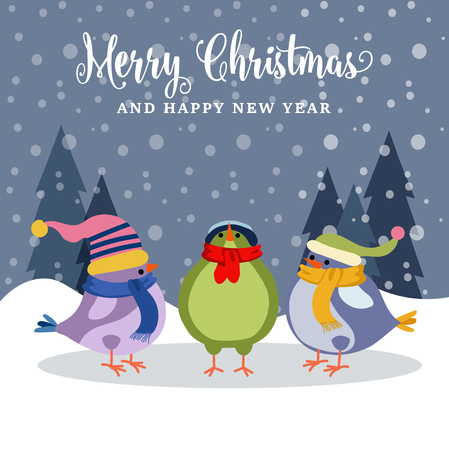 Beautiful Christmas card with birds . Christmas poster. Vector