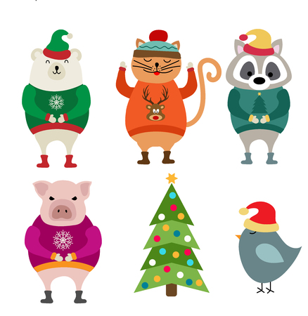 Funny flat design animals dressed for Christmas. Christmas bundle. Isolated on white background. Vector