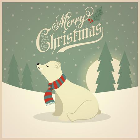 Beautiful retro Christmas card with polar bear. Flat design. Vector Illustration
